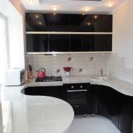"""Кухня """"Памела"""", цвет - черный. Интегрированные руки, цвет - ваниль."""